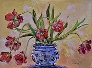 Purple Tulip Paintings - Wilting Tulips by Donna Tuten