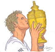 Wimbledon Drawings Metal Prints - Wimbledon Champion Andy Murray Metal Print by Steven White