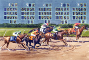Horse Racing Painting Prints - Win Place Show at Del Mar Print by Mary Helmreich