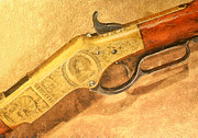 Crime Fighter Art - Winchester 1866 yellow boy rifle by Odon Czintos