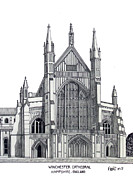 Historic Buildings Of The World - Pen And Ink Drawings Of Historic Buildings - Winchester Cathedral by Frederic Kohli