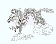 Serpentine Drawings Posters - Wind and Cloud Dragon Poster by Wendy Coulson