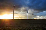 Wind Turbines Framed Prints - Wind and Sun Framed Print by Olivier Le Queinec