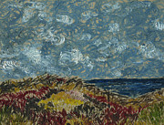 More Ideas Prints - Wind blowing the clouds around over the sea. Rincon Ventura California Print by Cathy Peterson