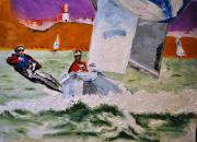 Wind Surfing Art Painting Originals - Wind Chaser by Ruben Barbosa