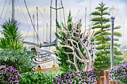 Yacht Painting Originals - Wind Drifter Boat Oakland Marina California  by Irina Sztukowski