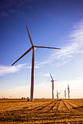 Rural Indiana Photo Prints - Wind Energy Windmills Picture Print by Paul Velgos