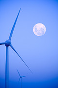Wind Turbine Photos - Wind Farm  and Full Moon by Colin and Linda McKie