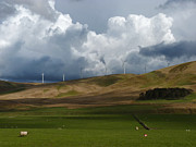 Generators Prints - Wind Farm Storm Clouds Print by Phil Banks