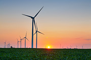 Rural Indiana Posters - Wind Farm Sunset Poster by Alexey Stiop