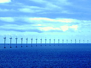 Generators Prints - Wind Generators at Sea Print by John Potts