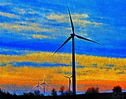 Generators Painting Prints - Wind  Generators Print by Bruce Nutting