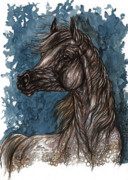 Blue Drawings Originals - Wind In The Mane by Angel  Tarantella
