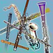 Saxophones Framed Prints - Wind Instruments Framed Print by Design Pics Eye Traveller