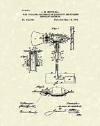 Mitchell Framed Prints - Wind Mill 1891 Patent Art Framed Print by Prior Art Design