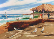 Shack Painting Posters - Wind n Sea Beach La Jolla California Poster by Mary Helmreich