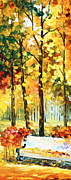 Autumn Trees Painting Posters - Wind of Dreams 1 Poster by Leonid Afremov