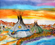 Buffalo River Paintings - Wind River Encampment by Anderson R Moore