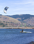 Wind Surfing Framed Prints - Wind surfing in the Columbia River Gorge Oregon. Framed Print by Gino Rigucci