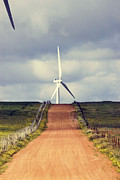 Green Power Prints - Wind Turbine and Red Dirt Road Print by Colin and Linda McKie
