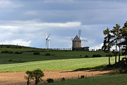 Energy Photos - Wind turbine and windmill by Bernard Jaubert