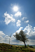 Cloudy Photo Prints - Wind turbine  Print by Bernard Jaubert