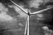 Prairie Skies Art Prints - Wind Turbine Black and White Print by Ann Powell