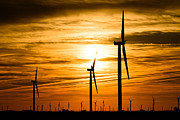 Industrial Prints - Wind Turbine Farm Picture Indiana Sunrise Print by Paul Velgos