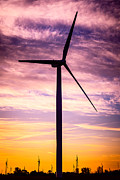 Rural America Prints - Wind Turbine Picture on Wind Farm in Indiana Print by Paul Velgos