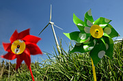 Pinwheel Posters - Wind turbines and toys Poster by Bernard Jaubert