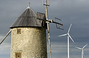 Turbines Photos - Wind turbines and windfarm by Bernard Jaubert