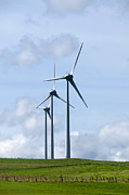 Conscious Metal Prints - Wind turbines Metal Print by Bernard Jaubert