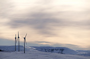 Technological Posters - Wind turbines in winter Poster by Bernard Jaubert