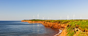 Ecological Photos - Wind turbines on atlantic coast by Elena Elisseeva