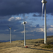 Turbines Photos - Wind turbines. Region Auvergne. France by Bernard Jaubert