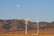 Moon Art - Wind Turbines with a Full Moon and Blue Skies by James Bo Insogna