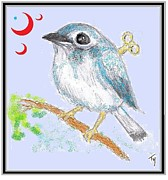 Moons Drawings Framed Prints - Wind-up Bird Framed Print by Ty Walsh Trez