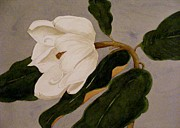 Moody Paintings - Windblown Magnolia by Nancy Kane Chapman