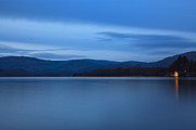 Lakehouse Framed Prints - Windermere lakehouse at dusk Framed Print by Richard Thomas