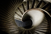Wooden Stairs Posters - Winding Down Poster by Joan Carroll