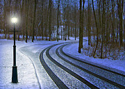 Snowy Night Art - Winding Driveway by Mark Dottle