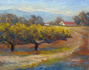California Vineyard Paintings - Winding Road by Carolyn Jarvis