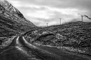 Black And White. Mono. Monochromatic Posters - Winding Road In Glen Etive Poster by John Farnan