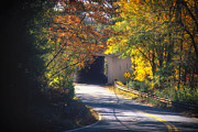 Stockton Prints - Winding Road with Covered Bridge Print by George Oze