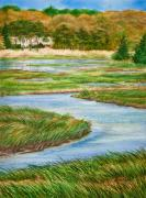 Cape Cod Painting Posters - Winding Waters - Cape Salt Marsh Poster by Michelle Wiarda
