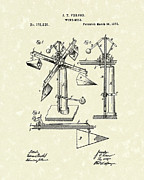 1876 Framed Prints - Windmill 1876 Patent Art Framed Print by Prior Art Design