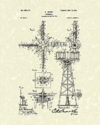 1901 Drawings Prints - Windmill 1901 Patent Art Print by Prior Art Design