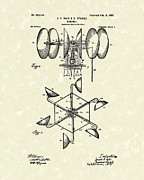 Power Drawings Prints - Windmill 1902 Patent Art Print by Prior Art Design