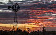 Awesome Prints - Windmill And The Sunset Print by Robert Bales
