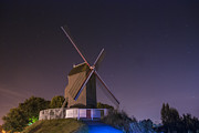 Architecture And Building Prints - Windmill at Night Print by Juli Scalzi
